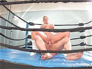 huge-titted platinum-blonde Shyla Stylez does some gonzo training