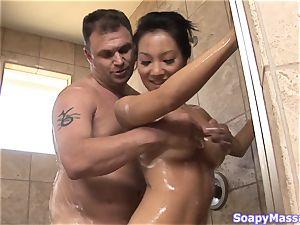 asian sweetheart Asa Akira as the Soapy rubdown Parlour