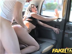fake cab tall Spanish bombshell tears up her boyfriend in the back