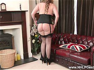 natural huge titties dark haired Sophia Delane milks in nylons