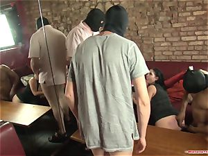 Michelle Thorne and youthfull hoe gangbang tear up with gang