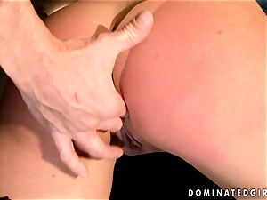 Dark haired dame gets bound and donk torn up by a violating knob