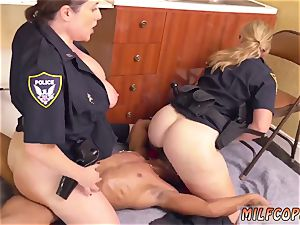 lubricated up multiracial dark-hued male squatting in home gets our cougar officers squatting on