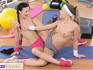 FitnessRooms two girly-girl Gym partners workout