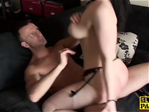 big-boobed british slave pussyfucked while bound
