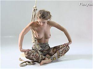 Anka the nudist demonstrating her talent