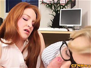 CFNM ginger female dom humiliate boss in office
