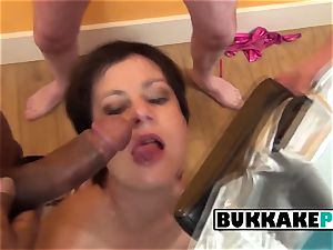 Housewife luvs getting her gullet stuffed with spunk loaded chisels