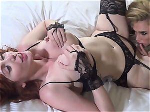boob deep-throating and honeypot slurping lesbos