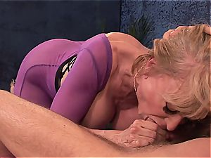 Mature sloppy damsel doggystyled by youthful fellow