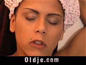 ebony massive baps teenie poking older man in the bathroom