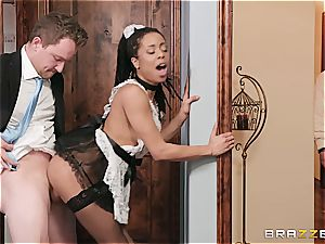 super-steamy ebony maid almost get caught