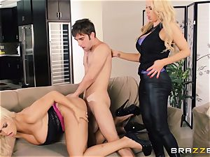 Nikki Benz and Bridgette B get dirty with the security stud