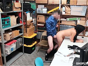 Ella Knox gets caught shoplifting and pays her debt with her facehole and snatch