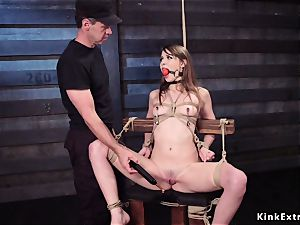 marionette instructing for slim brown-haired hoe