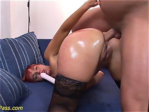 oiled plump mummy gets rectal pumped
