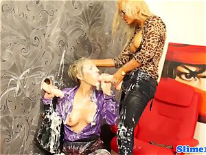 jizm soaked les piledriven by strap on dildo