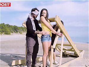 LETSDOEIT - pornstars pummel a fortunate man at the Beach