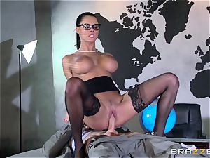 chesty spy Peta Jensen gets her cock-squeezing gash boinked in a secret bunker