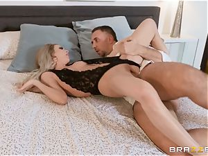 Aiden Ashley salivating on a massive dick