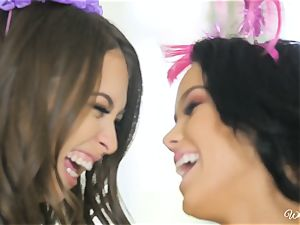 Riley Reid and Megan Rain saucy girl-on-girl birthday ladies