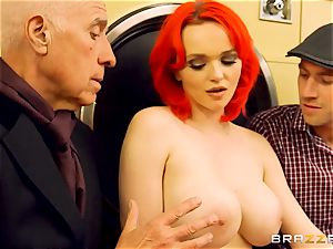 Flame haired Jasmine James gets plunged in the launderette