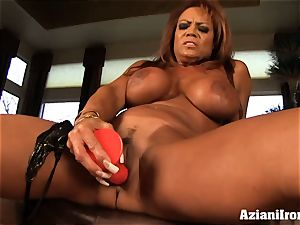 yam-sized boobed DD finger pokes herself