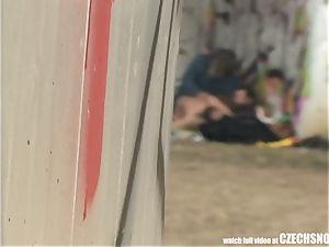 Homeless 3some Having hookup on Public