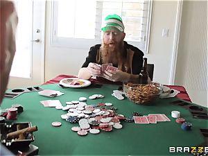 Sarah Jessie drilling her husbands poker mate