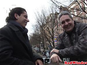 Amsterdam tart blowing man-meat