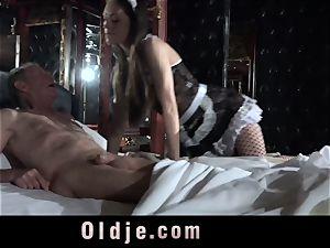 Step parent Caught pulverizing The Maid