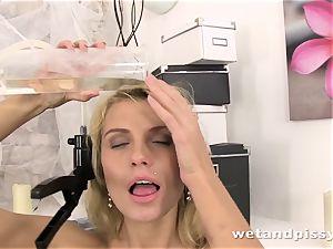 Karina Grand tastes and flips around in her own urinate