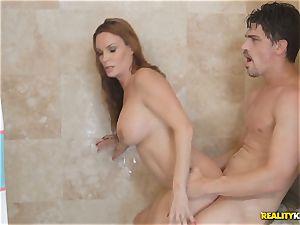 mummy Diamond Foxxx inhales prick inbetween the shower curtain