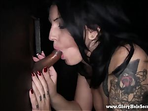 female gasps on spunk-pumps in a gloryhole