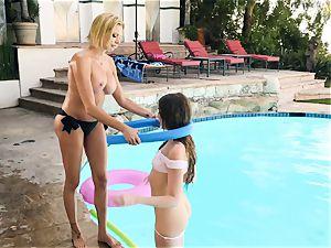 Briana Banks and Elena Koshka poolside lesbo pummel