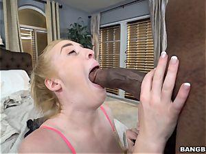 ultra-cute ash-blonde nailed by a fat black trunk