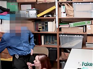 April lies on desk for officer to suck her poon until they spunk