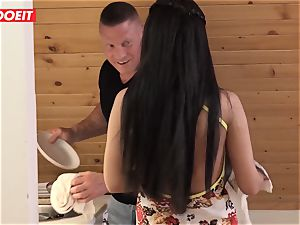 Step dad helps daughter-in-law neat his jizz instead of apartment
