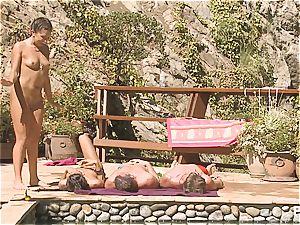 horny poolside joy part trio