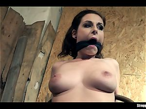 Antonia Sainz chair-tied cleavegagged undressed stimulated