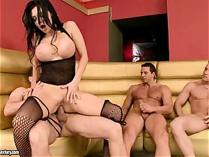 Aletta Ocean gets her cock-squeezing holes clogged with thick meatpoles eager to spunk