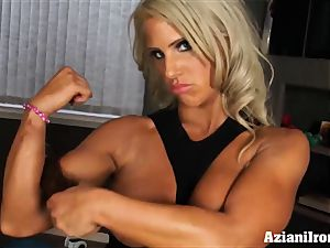 Massively strong damsels disrobes down and flash off