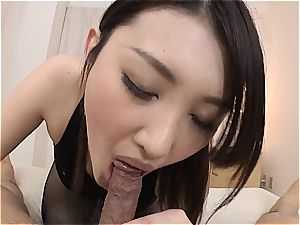 petite japanese ultra-cutie gets her minge romped thru her stockings