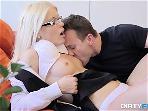 cum-shot On Glasses Makes Nerdy lady blessed