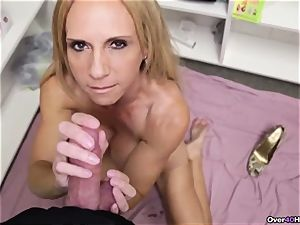 cougar Offers Her Helping mitt With cum filled nads