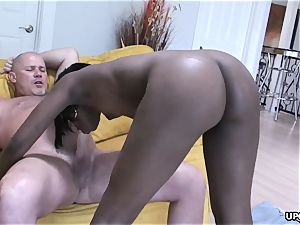 pinkish muff wedged doggy fashion in a good interracial