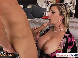 blond cougar Sara Jay gets humungous bra-stuffers fucked