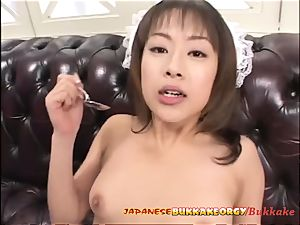 asian Maid uses her mouth for cleaning