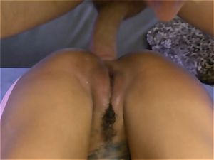 tatted Bonnie Rotten spills during rectal