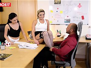 Stepdaughter joins dad in romping the office secretary